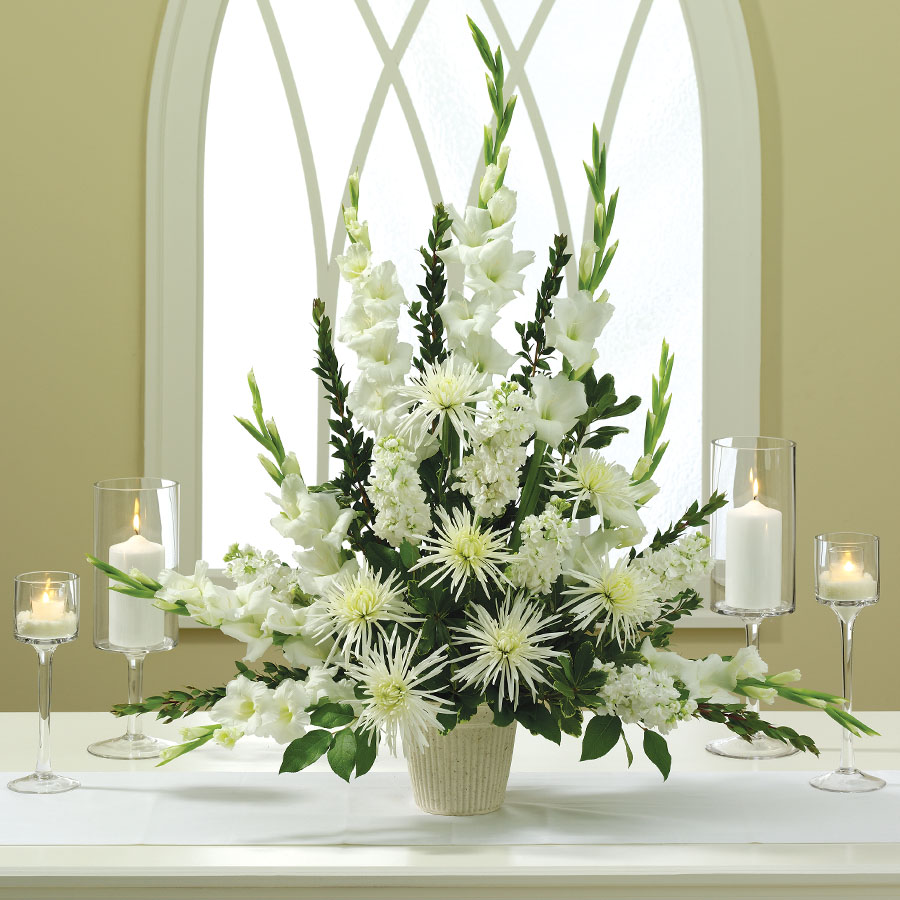 Flower Arrangement For Church Wedding: Enchanted Love Altar Arrangement